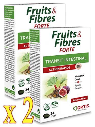ORTIS Frutas y fibras fuertes de tránsito intestinal – Acción rápida 8 h – Complemento alimenticio 24 comprimidos – Lote de 2 cajas (2)