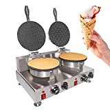 ALDKitchen Waffle Cone Maker | Commercial Ice Cream Cone Maker | Stainless Steel | Teflon Coating | Manual Control | 110V (Double)