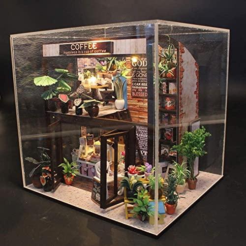 Casetta giocattolo fai da te, modello da costruzione fatto a mano, regalo di compleanno, caffè, casa con copertura antipolvere, set di case delle bambole per bambini, casa delle bambole, modello in