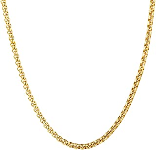 "U7 Jewelry Pendant Chain Necklace 3mm Wide Square Rolo Chain Stainless Steel/Black Gun Plated/18K Gold Plated Box Necklace, Chain Length 18"" to 32"""
