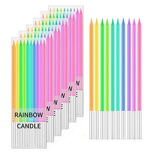 BEANLIEVE 60-Count Rainbow Birthday Candles - Colorful Birthday Candle Long Thin Cake Candles Cupcake Candles for Birthday, Wedding & Lucky Party Cake Decoration