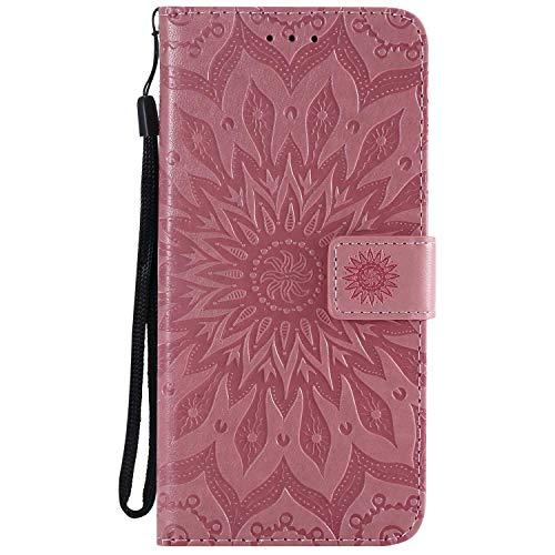 KKEIKO Hülle für Galaxy J6 Plus 2018, PU Leder Brieftasche Schutzhülle Klapphülle, Sun Blumen Design Stoßfest HandyHülle für Samsung Galaxy J6 Plus 2018 - Rosa