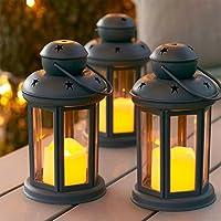 Lights4fun Conjunto de 3 farolillos Gris con Vela LED a Pilas