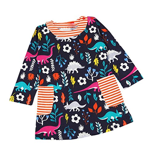 G-real Toddler Girls Kids Cartoon Dinosaur Floral Print Dress Long Sleeve Cotton Straight Dress for 2-6T (Navy, 5T)