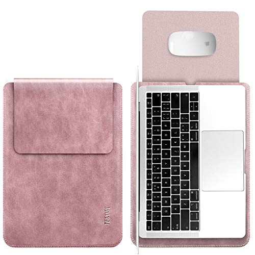 TECOOL 13 Pouce Housse Protection pour Macbook Air 13/Macbook Pro 13 Retina, Laptop Sleeve Pochette Étui Sacoche Cuir pour 13 Pouce Ordinateur Portable HP Envy X360, 13.5 Surface Laptop 3- Vieux Rose