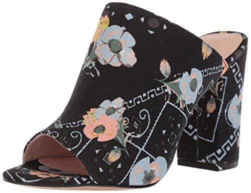Avec Les Filles Women's Margaux Heeled Sandal, Black Poppy Bandana Printed Canvas, 6.5 M US