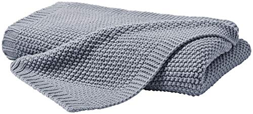 Kuscheldecke Strick 140x190 cm grau - Strickdecke OekoTex warme weiche Decke Herbst-Winter-Kollektion 19/20 Geschenk