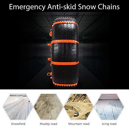 MASO Schneeketten, 20 Stück, rutschfest, für Reifen, tragbar, einfach zu montieren, Notfall-Traktionsketten, universell für Reifenbreite 145–295 mm
