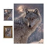 3D LiveLife Linsenförmige Wandkunst Drucke - Einsamer Wolf