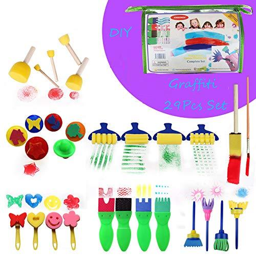 Brush Pen set kinderen DIY stempel roller spons schilderen aquarel marker penseelset graffitipencils waterverf kleuren schilderpenseel schildersets multicolor