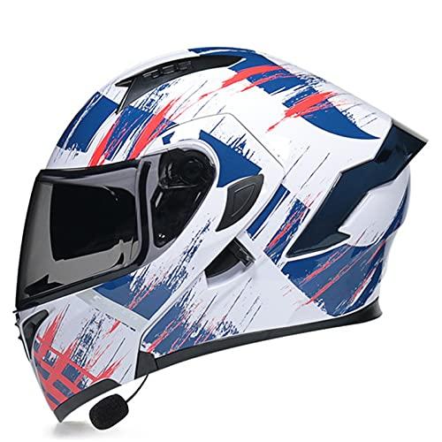 Casco Moto Modular Con Bluetooth Integrado Casco De Moto Integral ECE Homologado Con Doble Visera Casco De Moto De Carreras Moto Abatible Casco Integral Para Mujer Hombre Adultos D,XL