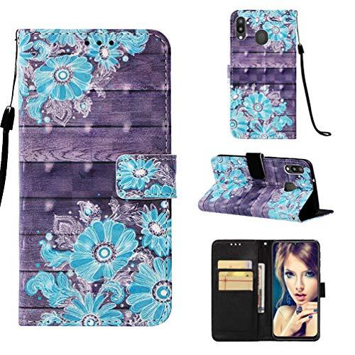 M20 Handytasche Kompatible für Samsung Galaxy M20 Hülle 3D Muster Flip Hülle Cover PU Leder Tasche Handyhülle Schutzhülle Skin Ständer Klapphülle Schale Bumper Magnet Deckel Mädchen-Blau Blume