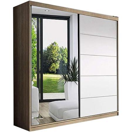 E-MEUBLES Armoire de Chambre avec 2 Portes coulissantes | Penderie (Tringle) avec étagères (LxHxP): 150x200x61 LARA05 (Sonoma+ Blanc)