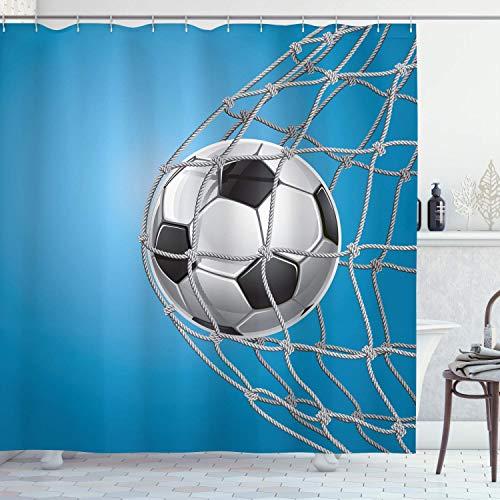 Alvaradod Fußball-Duschvorhang,Ziel Fußball in der Netzunterhaltung Spielen für den Gewinn eines aktiven Lebensstils,Stoff Stoff Badezimmer Dekor Set mit,Blaugrau mit 12 Kunststoffhaken 180x210cm
