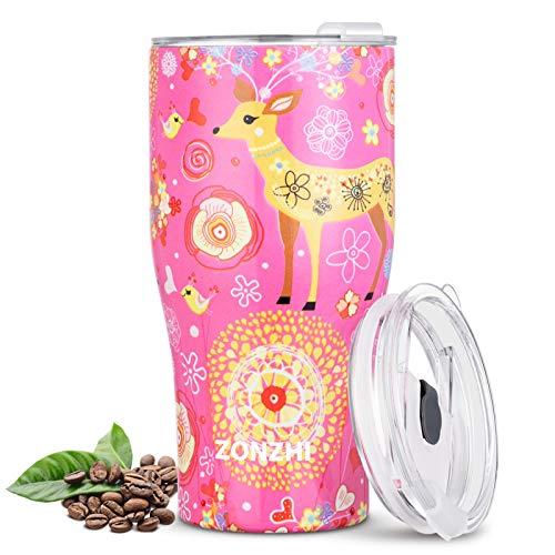 ZONZHI Thermobecher- 500ML Edelstahl Kaffeebecher to go- Auslaufsicher- Wiederverwandbarer Thermobecher mit BPA Frei Deckeln für heißen und kalten Kaffee, Tee usw.,Weihnachtselch