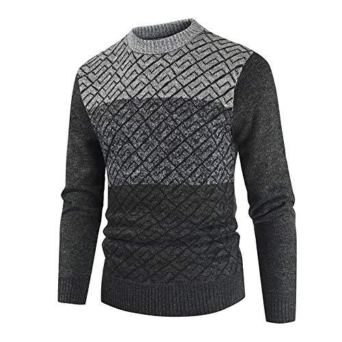 Luandge Suéter a Juego de Color con Cuello Redondo para Hombre Moda clásica Cómoda Ropa de Calle Informal de Punto L