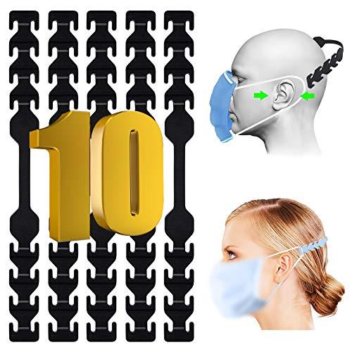 TOOVREN 10 Stück verstellbare Größe Anti-Rutsch-Masken Ohrband Verlängerungsriemen zur Verringerung von Ohrenschmerzen, Einstellschnallen Ohrseil Anti-Rutsch-Silikonmaske waschbar (Schwarz)
