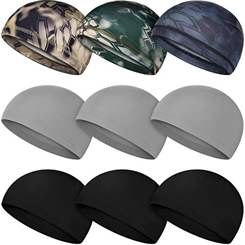 Geyoga 9 Pieces Skull Cap Running Hats Helmet Liner Beanie Cap Sweat Wicking Cycling Hat for Men and Women (Classic Colors)