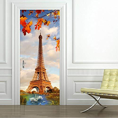 Autocollant-De-Porte-Autocollant Creative Bricolage Paris Tour Lac des Cygnes Papier Peint Salon Moderne Restaurant Décor À La Maison Stickers 3D