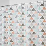 mDesign Decorative Triangle Print - Waterproof, Heavy Duty PEVA Shower Curtain Liner, for Bathroom Showers, Stalls and Bathtubs - 72' x 72' - Coral/Gray/Mint Green