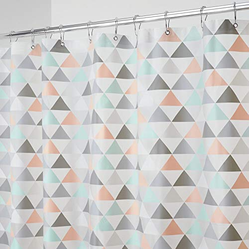 """mDesign Decorative Triangle Print - Waterproof, Heavy Duty PEVA Shower Curtain Liner, for Bathroom Showers, Stalls and Bathtubs - 72"""" x 72"""" - Coral/Gray/Mint Green"""