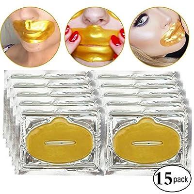 15 Pcs Crystal 24K Gold Bio Collagen Gel Lip Pad Mask For Moisturizing, Anti-Wrinkle, Anti-Aging, Nourishing & Hydrating Lips