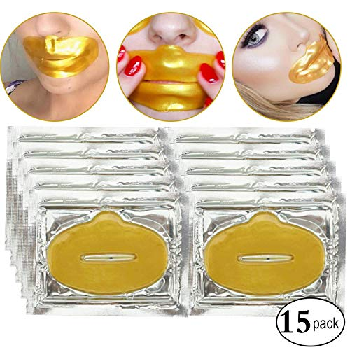 15 parches de colageno oro para humectar labios, mascara antiarrugas para nutrir, hidratar, reafirmar el labio. Adios arrugas alrededor de la boca, mascarilla con efecto lifting, textura suave