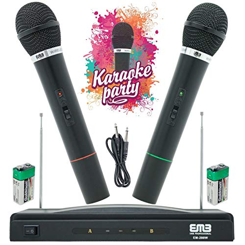 """EMB EM-200W Professional Wireless Microphone System Dual Handheld (2 Microphones) 1 Cordless FM Receiver Including 1X 1/4"""" Jack Cable/Frequency Range: FM121.7-128.7MHz"""