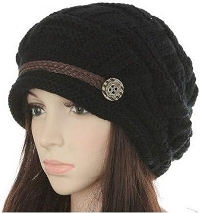 fcf188d6 Headwear Women Warm Rageared Baggy Winter Beanie Chunky Knit Crochet Ski  Hat Cap GH3132 Black