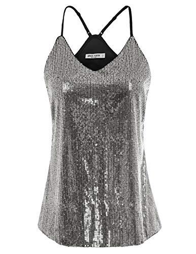 GRACE KARIN Women Shimmer Sequin Embellish Sparkle Vest Tank Tops Size S,Silver