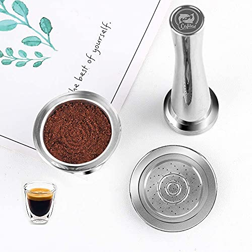 i Cafilas Reusable Nespresso Capsules with Tamper - i Cafilas Stainless Steel Refillable Coffee Pods Compatible for Nespresso Original Line Machines (Capsule+Tamper)