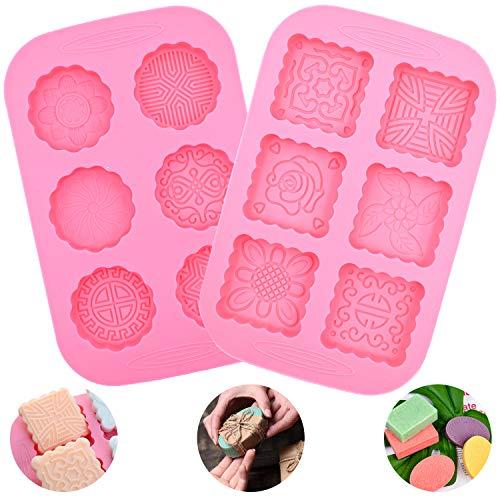 Stampo In Silicone BESTZY 2PCS Stampo Per Sapone Per Sapone Fatto A Mano Stampo Per Cottura Fai da te Mooncake cioccolato wafer