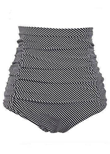 COCOPEAR Women's Ruched High Waisted Bikini Bottom Retro Vintage Swim Short Tankinis (FBA) Black Stripe M/6-8