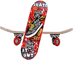 Gluckluz Skateboard Maple Wood Complete Board Scooter Shoes Patterned Skateboards for Kids Children Festivals Birthday...