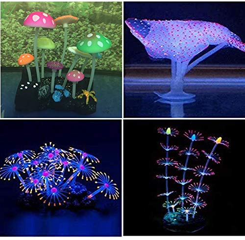 Yuxier Aquarium Decorations Coral Reef Glowing Mushroom...