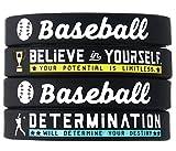 (4-Pack) Baseball Silicone Bracelets with Motivational...