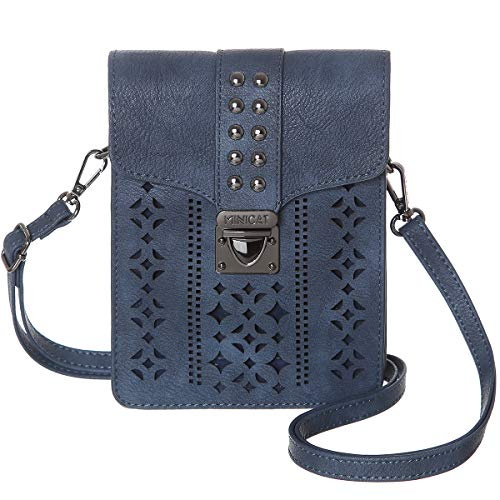 MINICAT Women RFID Blocking Small Crossbody Bags Cell Phone Purse Wallet With Credit Card Slots(Dark Blue-Thicker)