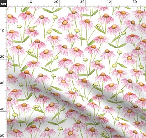 Sonnenhut, Gänseblümchen, Wiese, Rosa, Blumen, Kräuter, Glücklich Stoffe - Individuell Bedruckt von Spoonflower - Design von Jillbyers Gedruckt auf Bio Musselin