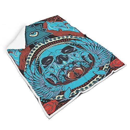 O5KFD & 8 Blanket Skull Patroon Print Sherpa twee maten plafond - Eye comfortabel geschikt voor bibliotheekstudie