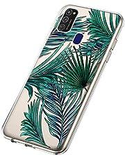 Funda para Samsung Galaxy M21, Cárcasa Transparente con Dibujos Diseño, Ultra Slim Suave Gel TPU Silicona Antigolpes Resistente Case Cover Bumper Fundas Samsung Galaxy M21, Hoja de Banana
