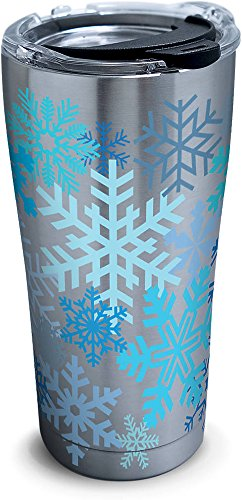 Tervis Snowflakes Stainless Steel Tumbler with Clear and Black Hammer Lid 20oz, Silver