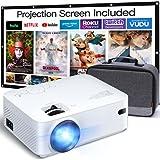 APEMAN Vidéoprojecteur, Supporté 1080P FHD 5500 Lumens Mini Projecteur, LED Home Cinéma Rétroprojecteur, Compatible avec HDMI, VGA, AV, TF, USB, TV Box, PC, PS4 et Téléphone Intelligent