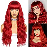 Sapphirewigs Hot Red Color Long Wavy Wig With Bangs Silky Full Heat Resistant Synthetic Wig Natural Looking Machine Made Hair Replacement Wig for Party Cosplay 22inch