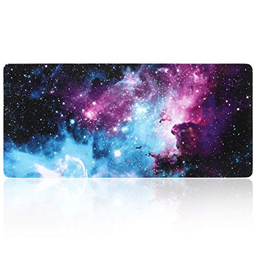 iLeadon Extended Gaming Mouse Pad - Non-Slip Water-Resistant Rubber Base Computer Keyboard Mouse Mat, 35.1 x 15.75-inch 2.5mm Thick XX-Large, Ideal Partner for Work & Game, Colorful Nebula