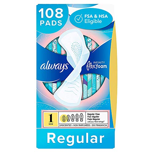 Always Infinity Feminine Pads for Women, Size 1, 108 Count, Regular Absorbency, with Wings,...