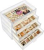 Mebbay Joyero acrílico con 4 cajones, organizador de joyas de terciopelo para pendientes, collar y pulsera, caja de almacenamiento transparente para mujer, color beige