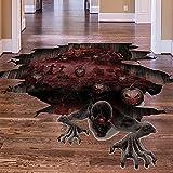 BOUTIKS® Adhesivos de Pared Decoración Halloween, Arte DIY PVC Decoración de Halloween Zombie Calabaza Adhesivo de suelo para pared Murales, 93x62 cm, Zombie
