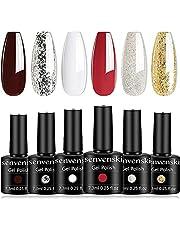 Senvenski Gel Nail Polish Glitter Soak Off UV LED Manicure Art Varnish Gift Set Kit Multicolour 6pcs