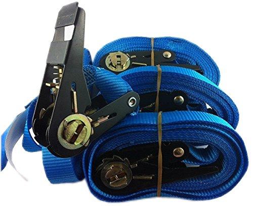 iapyx®, 4 2 stuks spanbanden, ratelspanband, spanband met ratel, sjorband, 800 kg/5 meter kwaliteit, conform EN12195-2, kleur blauw, evenals sjorbanden met klemslot, snelsluiting, bevestigingsriemen, fietsendrager, 4 + 2 stuks