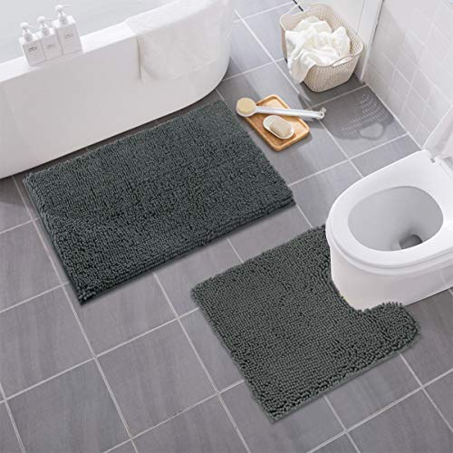 "MAYSHINE Bathroom Rugs Toilet Sets and Shaggy Non Slip Machine Washable Soft Microfiber Bath Contour mat (Dark Gray 32"" 20""/20"" 20"" U-Shaped)"